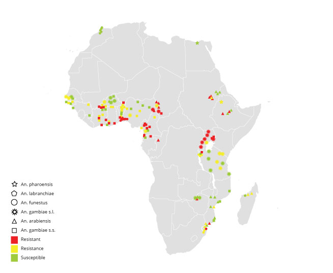 Distribution of pyrethroid resistance in Africa using data collected between 2000 to 2010